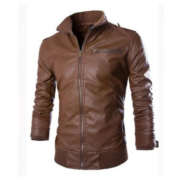 Faux Leather Jacket For Men with High Collar in Brown Colour