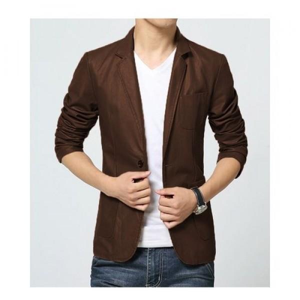 Brown Leather Blazer Coat For Men