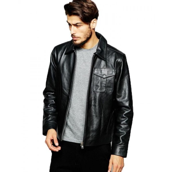 Pure Black  Faux Leather Jacket For Men