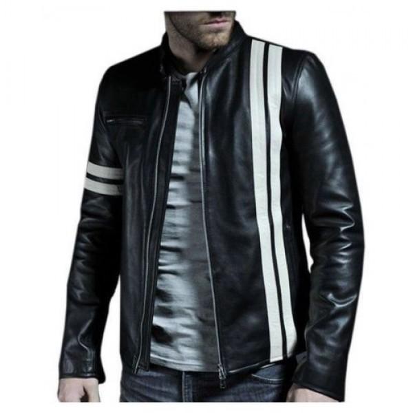 Black Faux Leather Jacket with Twin Stripe