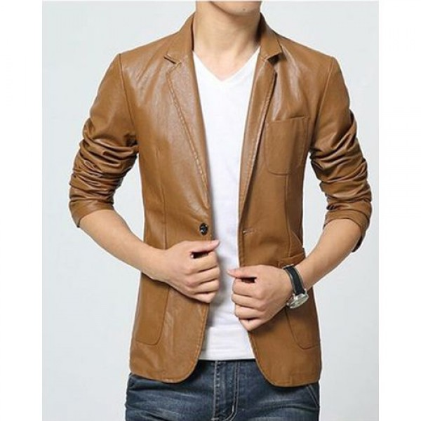 Brown Leather Blazer Coat for Men in Faux