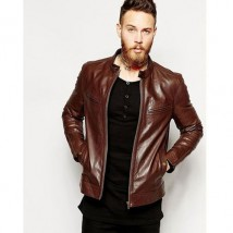 Choco Brown Leather Jacket With 4 Front Pockets