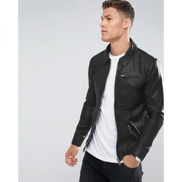 Sturdy Faux Leather Jacket In Black
