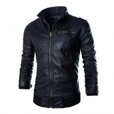 Leather Jacket For Men High Collar Style In Black