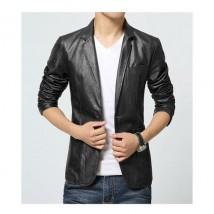 Blazer Style Leather Coat For Men In Black