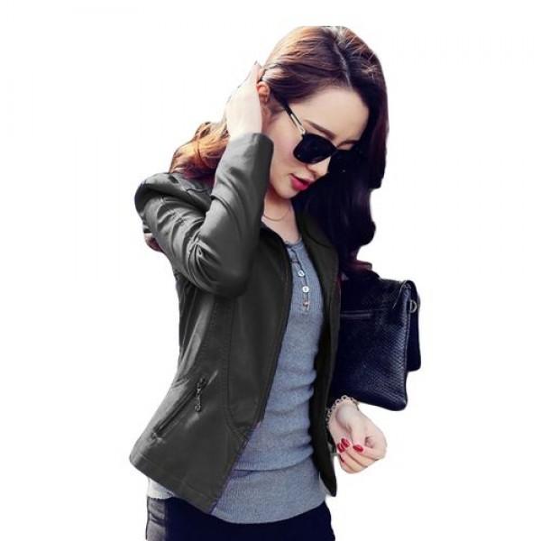 Stylish Black Leather Jacket For Women