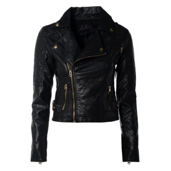 Moncler Black Leather Jacket For Women