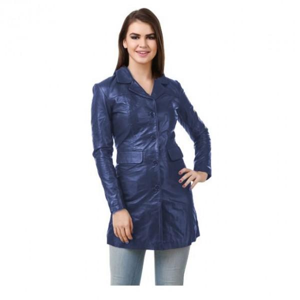 Moncler Dark Blue Leather Long coat For Women