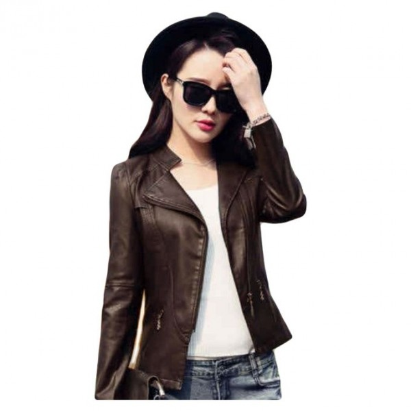 Moncler Brown Leather Jacket For Women