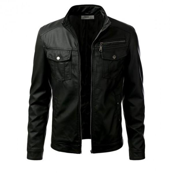 Leather Jacket For Men Moncler Faux Black