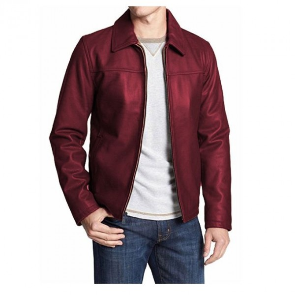 Moncler Highstreet Maroon Faux Leather Jacket For Men