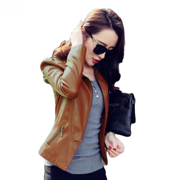 Moncler Mustard Leather Jacket For Women
