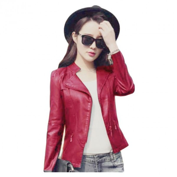Moncler Maroon Leather Jacket For Women