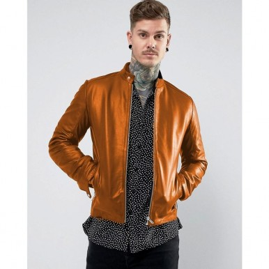 New Highstreet Mustard Faux Leather Jacket For Men SM0092