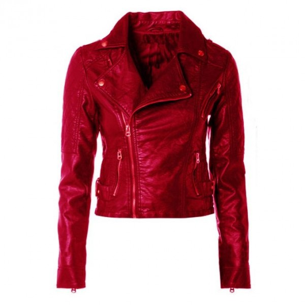 Moncler Red short Faux Leather Jacket For Women