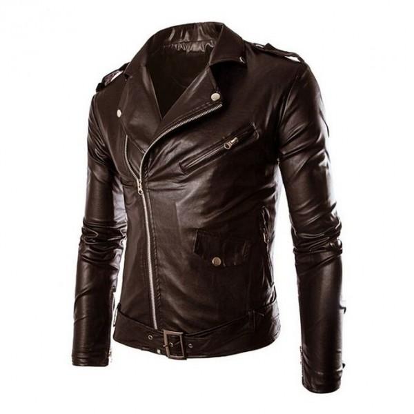 Moncler Brown Leather Jacket For Men