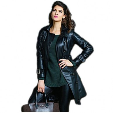 Black Leather Long Coat For Women