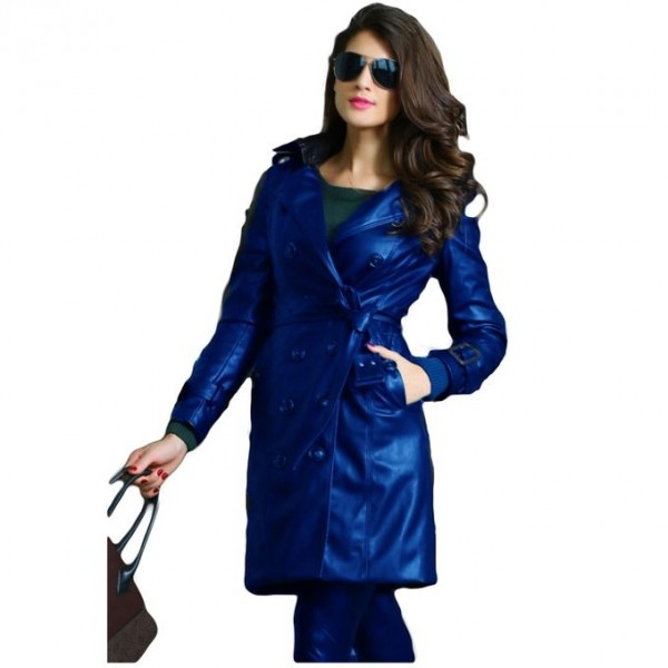 Moncler Blue Leather Long Coat For Women
