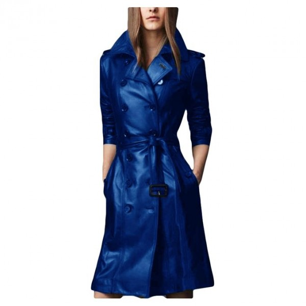 Moncler Blue Leather Long style coat For Women