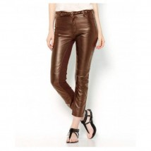 Moncler Brown Leather Pant For Women