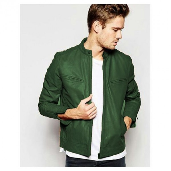 Green Winter Faux Leather High Street Jacket for Men