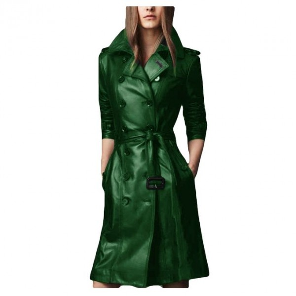Moncler Green Leather Long coat style For Women