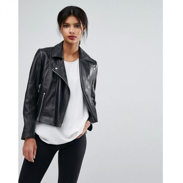 Moncler Highstreet style Black Faux Leather Jacket For Women