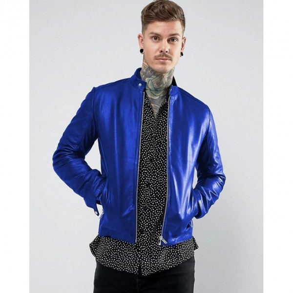 New Highstreet Blue Faux Leather Jacket For Men SM-0091