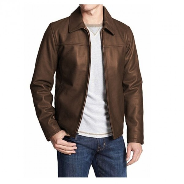 Moncler Highstreet Brown Faux Leather Jacket For Men