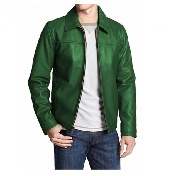 Moncler Highstreet Green Faux Leather Jacket For Men