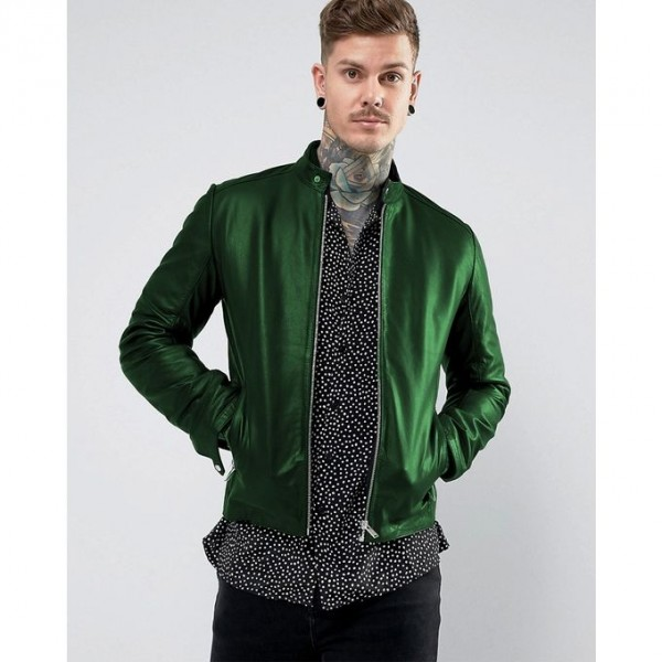 New Highstreet Green Faux Leather Jacket For Men SM-0092
