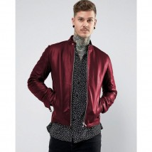 New  Maroon Faux Leather Jacket For Men SM-0093