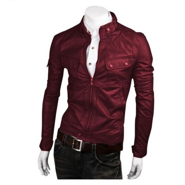 Moncler Highstreet Maroon Faux Leather Jacket For Men-maroon