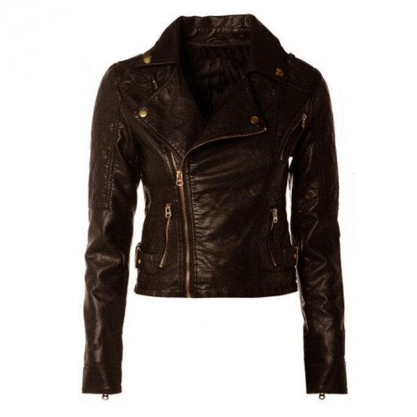 Winter Short Leather Jacket For Women In Brown