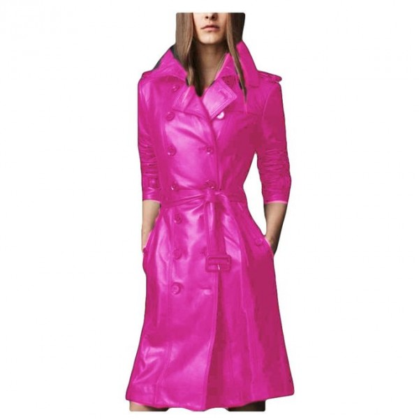 Moncler Pink Leather Long coat style For Women