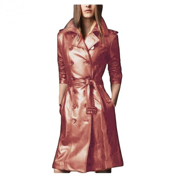 Moncler Skin Leather Long coat style For Women