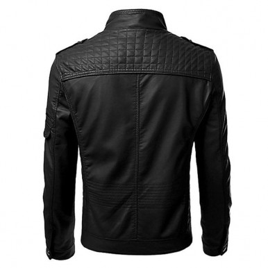 Black Leather Jacket For Men by Moncler