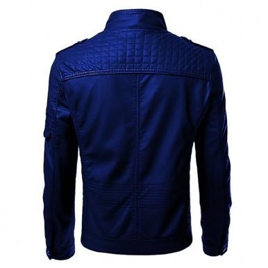 Moncler Blue Faux Leather Highstreet Jacket for Men-blue