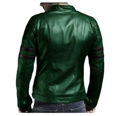 Leather Jacket for winter in Green