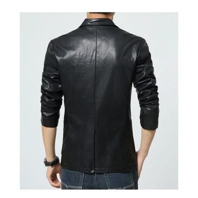 Moncler Black Leather Dress Coat For Men