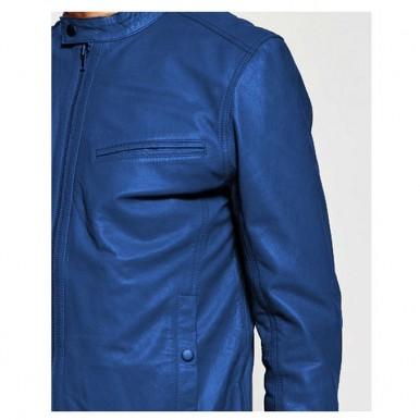 Moncler Blue Faux Leather High Street Jacket for Men-blue