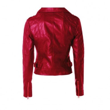 Moncler Maroon short Leather Jacket For Women