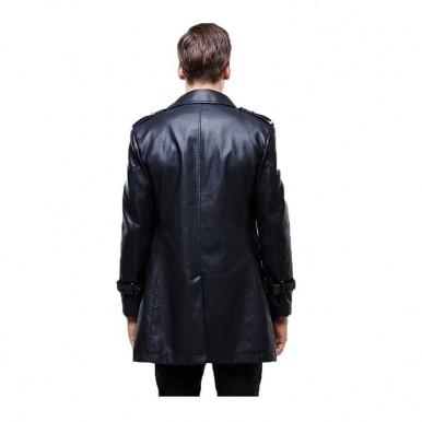 Black Leather Long Coat For Men by Moncler