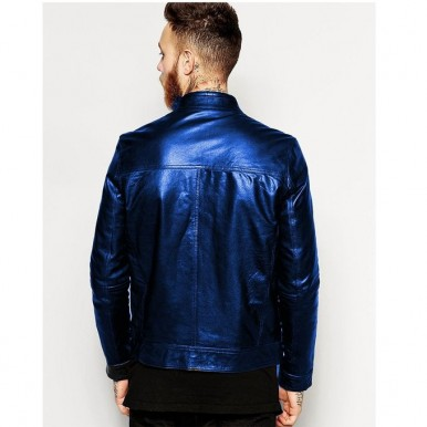 Moncler Blue Faux Leather Highstreet Jacket for Men