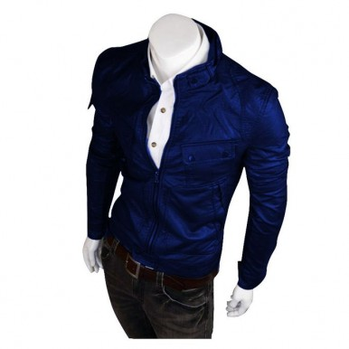 Moncler Blue Faux Leather Highstreet Jacket for Men85