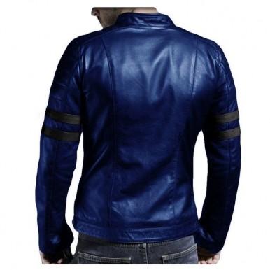 Moncler Blue - Leather Jacket For Men