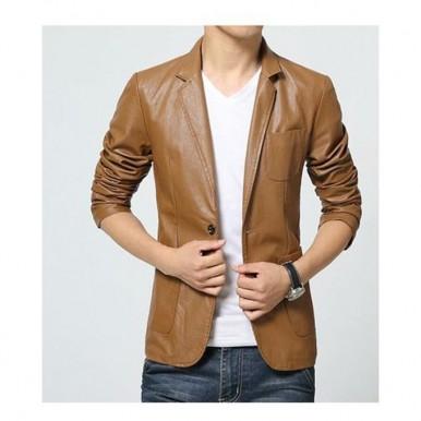 Moncler Brown Leather Dress Coat for Men