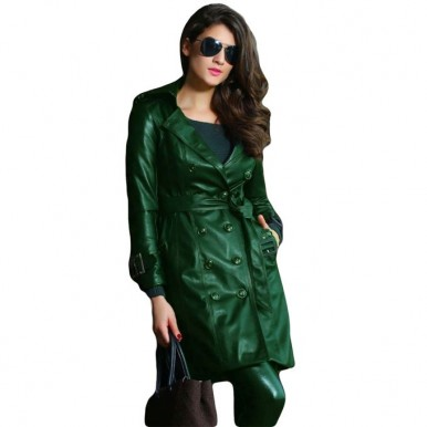 Moncler Green Leather Long Coat For Women