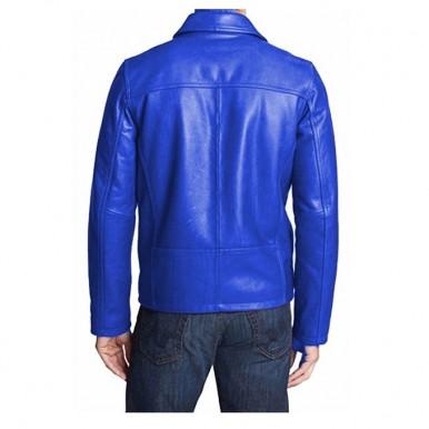 Moncler Highstreet Blue Faux Leather Jacket For Men