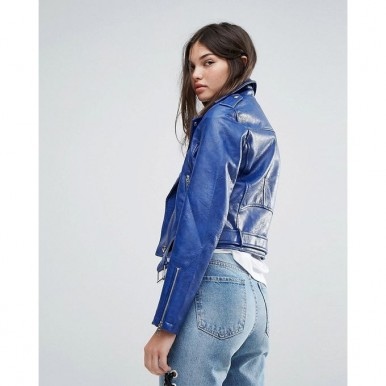 Moncler Highstreet style Blue Faux Leather Jacket For Women